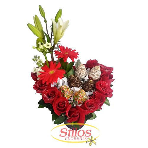Flores rosas chocolates